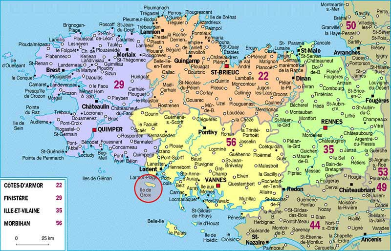 carte de bretagne détaillée Carte de Bretagne   Carde voyage en Bretagne   Photo Voyage